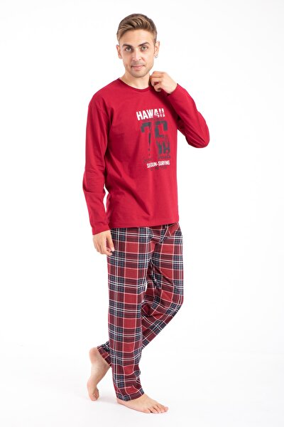Erkek Baskılı Pijama Takımı Uzun Kollu 2170