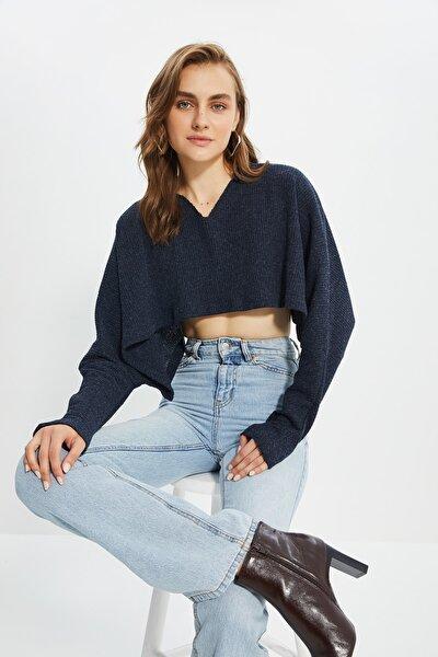 Lacivert Crop Örme Bluz TWOAW21BZ1213
