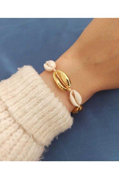 Gold Beyaz Renk Deniz Kabuğu Kadın Bileklik