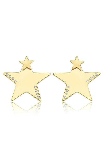 Yıldız Işıltısı, Zirkon Beyaz Taşlı, Altın Rengi Gümüş Küpe
