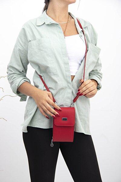 Sılver Polo Kırmızı Üç Bölmeli Kadın Çapraz Askılı Telefon Cüzdanı Sp889
