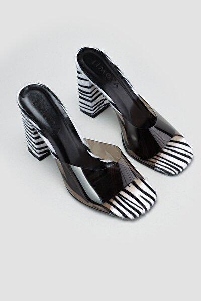 Kadın Gertie Siyah Hasır Detaylı Zebra Desenli Topuklu Terlik