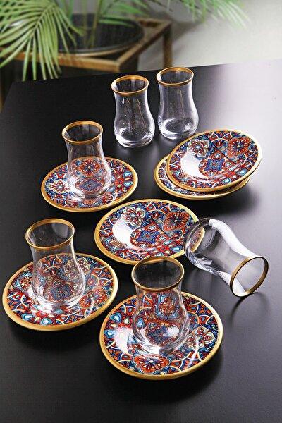 12 Parça Çini Desenli Çay Bardağı Seti