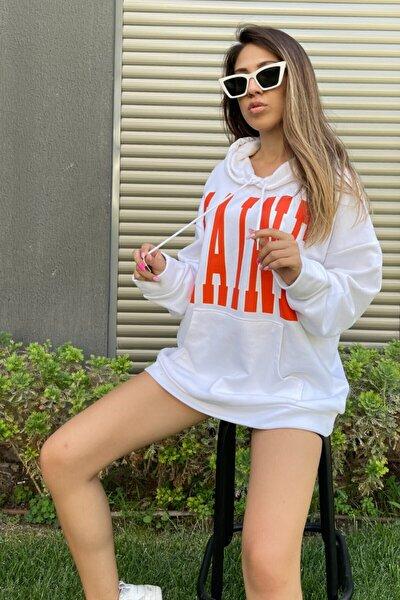 Kadın Beyaz Oversize Sweatshirt Maine Baskılı