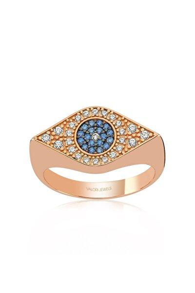 Mavi Nazar Gözü, Zirkon Mavi Ve Beyaz Taşlı, Rose Gümüş Yüzük