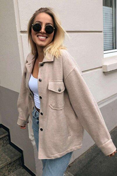 Mad Girls Bej Over Size Yün Gömlek Ceket Mg1199