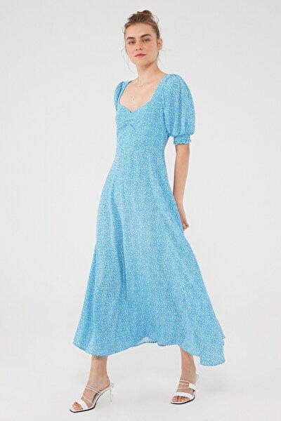 Kadın Puantiye Desenli Mavi Uzun Elbise 131158-35581 131158-35581