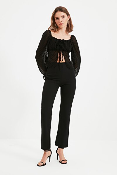 Siyah Petite Yüksek Belli Pantolon TWOAW22PL0243