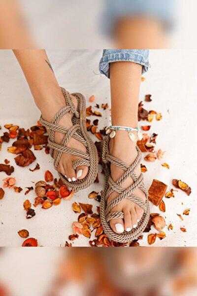 Kadın Vizon Çapraz Halat Sandalet