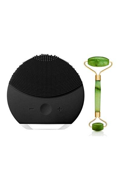 Siyah Mini Titreşimli Cilt Temizleme Cihazı Yeşim Taşı Roller