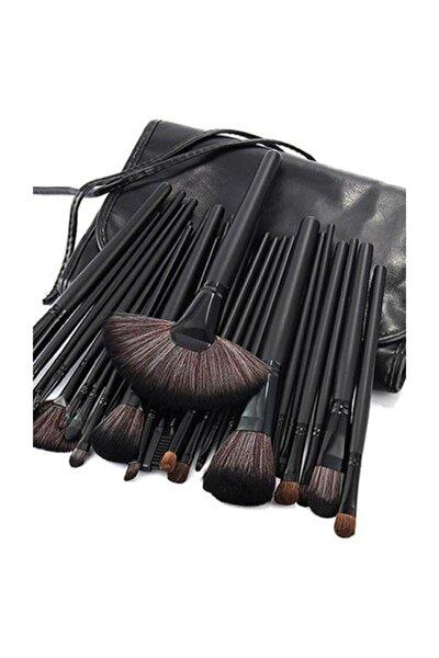 24 Parça Siyah Çantalı Makyaj Fırça Seti