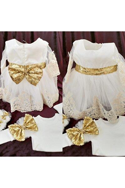 Mykino Gold Payetli Kız Bebek Mevlüt Takımı Mevlüt Elbisesi