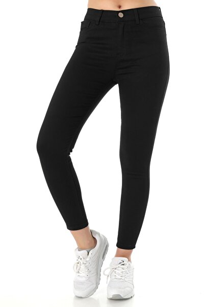 Kadın Yüksek Bel Dar Paça Skinny Fit Jeans Denim Kot Pantolon - Siyah