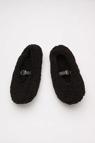 Siyah Fuzzy Belted Patik