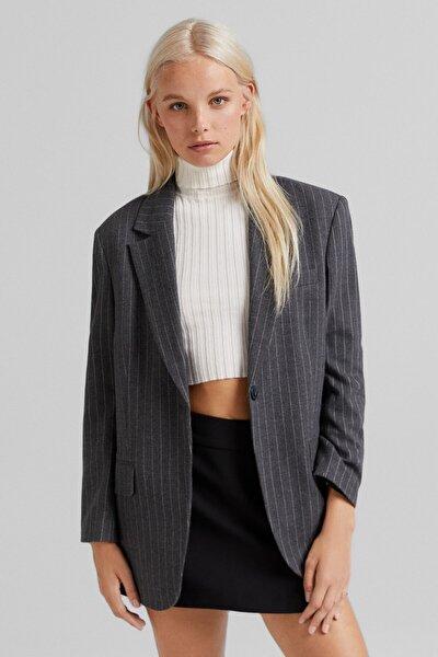 Kadın Maskulen Fit Blazer Ceket