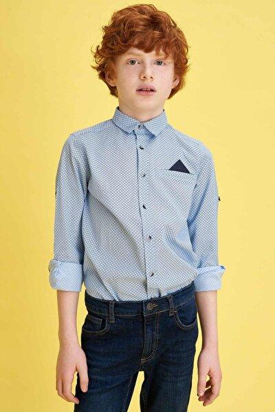 Erkek Çocuk Baskılı Pamuklu Mendilli Kolları Katlanabilir Gömlek