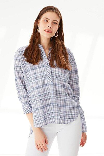 Kadın Lila Yarasa Kol Ekose Bluz