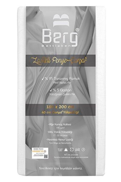 180x200 +35 cm Yükseklik Lastikli Lüks Penye Pamuklu Çarşaf Beyaz