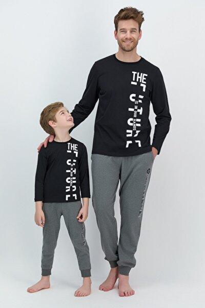 Erkek Uzun Kol Yazılı Pijama Takımı Baba Oğul Kombin