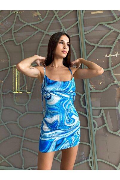 Saten Mavi Mini Elbise