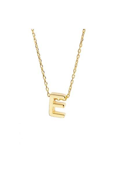 Kadın Sarı 925 Ayar Gümüş Zincir E Harf Kolye