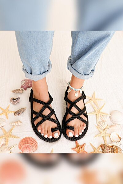 Kadın Siyah Çapraz Halat Sandalet