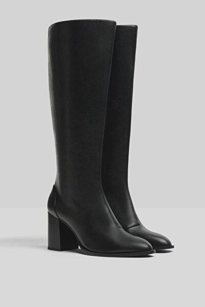 Blok Topuklu Diz Boy Çizme