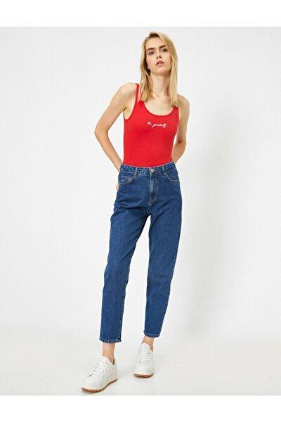 Kadın Mavi Yüksek Bel Mom Jeans