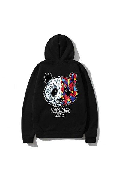 Unisex Siyah Kapüşonlu Panda Baskılı Sweatshirt