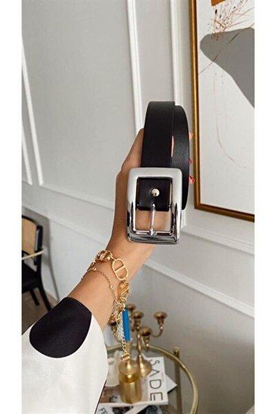 Kadın Siyah Kare Gümüş Tokalı Kemer R3030