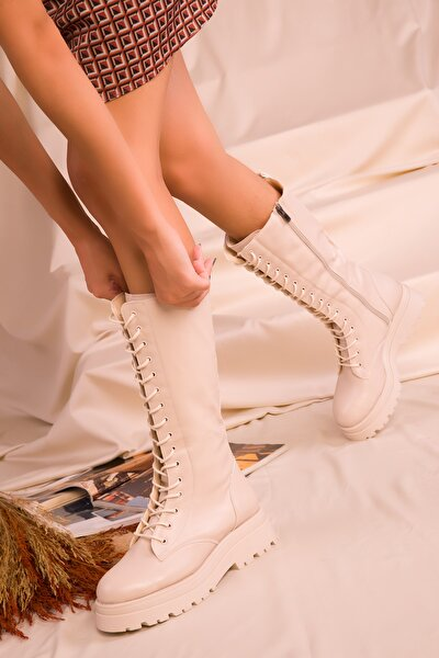 Kadın Bej Çizme 16516