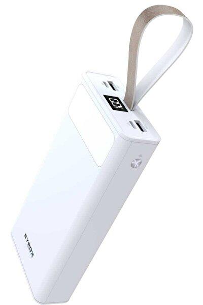 J-143 Pb115 Beyaz 30.000 Mah Led Işıklı 2.çıkışlı Powerbank Yedek Batarya Beyaz Renk Pb115b