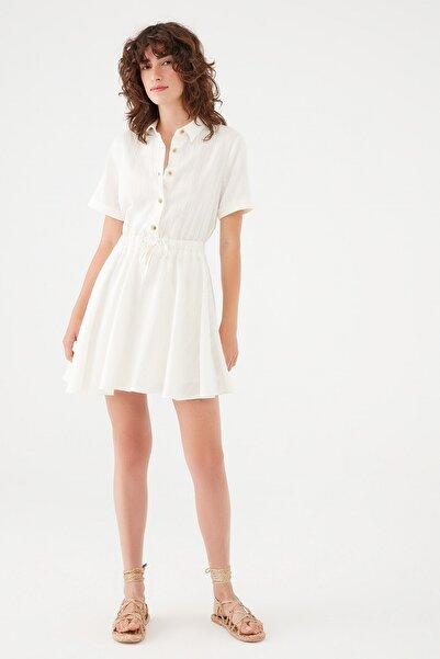Kadın Düğmeli Beyaz Elbise 131125-34519 131125-34519