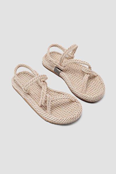 Kadın Ten Halat Sandalet