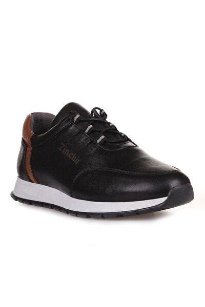 Iç Dış Komple Hakiki Deri Ortopedik Iç Taban Spor Sneaker Erkek Ayakkabı Siyah Taba