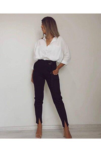 Kadın Siyah Çelik Örme Yüksek Bel Dar Kesim Paçası Yırtmaçlı Pantolon