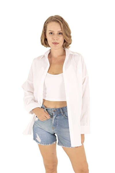 Beyaz Oversize Uzun Basic Gömlek