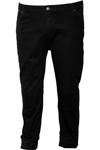 Erkek Siyah Büyük Beden Likralı Kot Pantolon