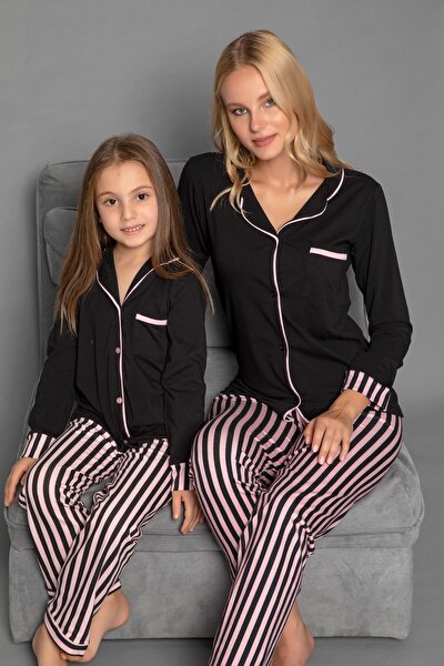 Kadın Siyah Pamuklu Likrali Düğmeli Pijama Takim