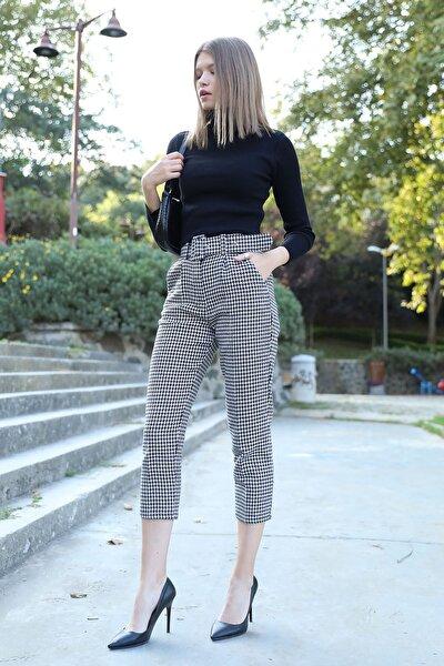 Kadın Siyah Kazayağı Desen Kaşe Pantolon