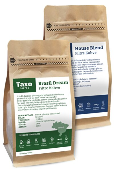 Taxo House Ve Brasil Blend Filtre Kahve 2x500gr (öğütülmüş)