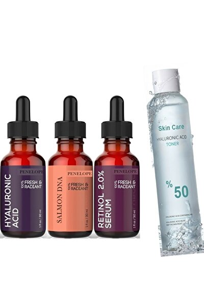 Pure Serum Set Somon Dna + Hyaluronic Acid + Retinol Tonik Hediyeli