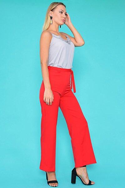 Kadın Kırmızı Kemerli Bol Pantolon