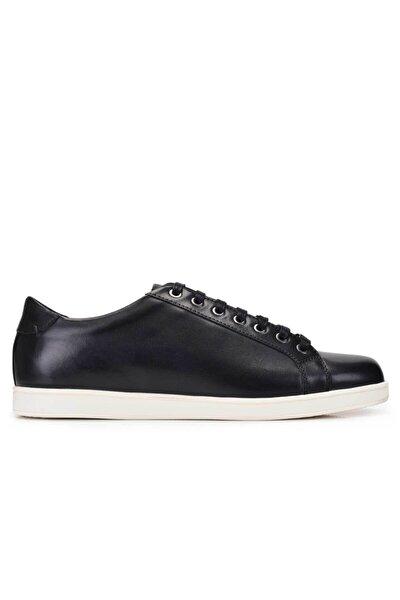 Erkek Siyah Hakiki Deri Sneaker Ayakkabı -10806-