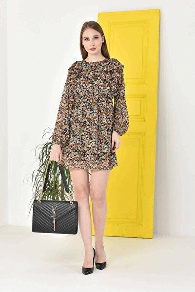 Kadın Sarı Astarlı Şifon Elbise