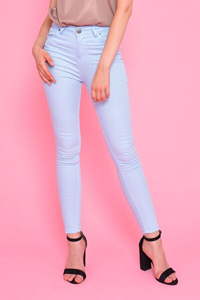 Kadın Mavi Yüksek Bel Gabardin Pantolon