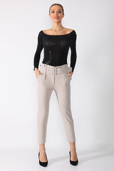Kadın Gri Kemerli Taş Kumaş Pantolon