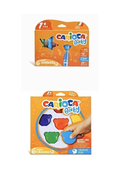Jumbo Süper Yıkanabilir Keçeli Boya Kalemi 6lı & Baby Teddy Crayons 6lı