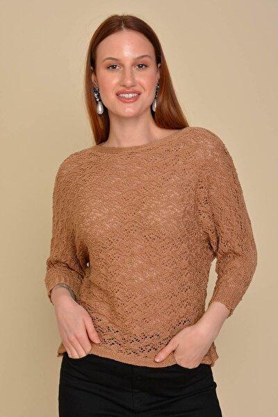 Kadın Bej Yarasa Kol Ajurlu Bluz