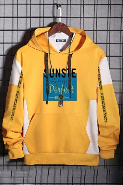 Unisex Sarı Oversize California Pamuk Kapüşonlu Baskılı Sweatshirt